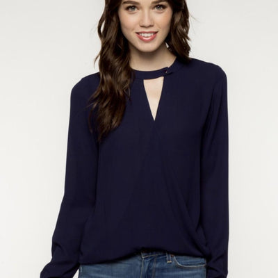 Blouse - Long Sleeve Navy Keyhole Blouse