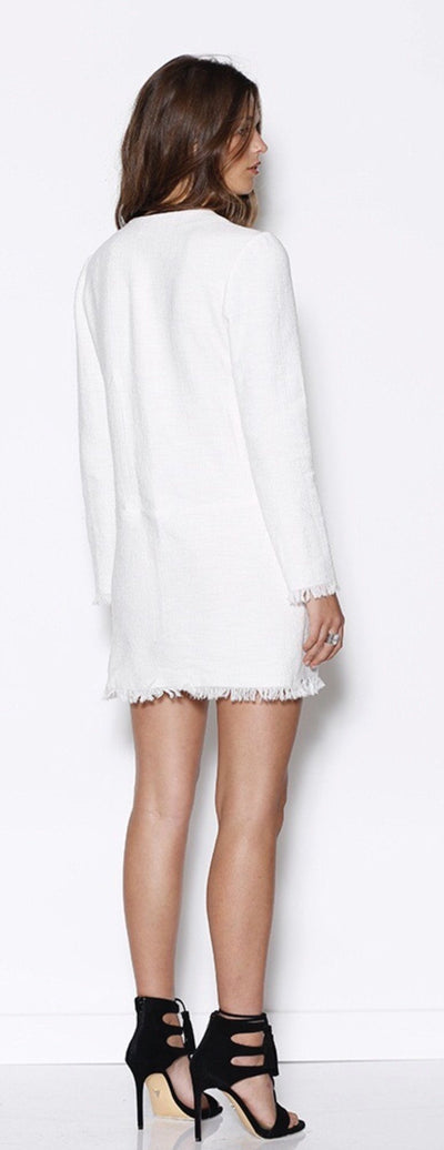 Dress - Ministry Of Style Ivory Lace Up Fray Mini Dress