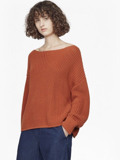 Sweater - Millie Mozart Slash Neck Knit Sweater In Copper Coin