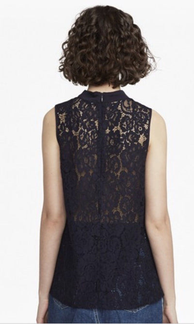 Tops - Black Classic Crepe And Lace High Neck Top