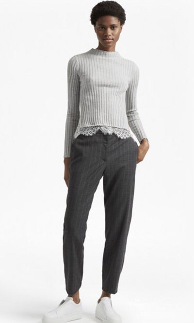 Tops - Nicola Knits Lace High Neck Lightweight Sweater