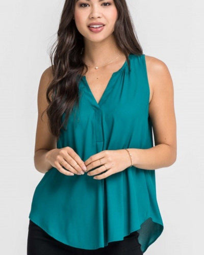 Tops - V-Neck Sleevless Woven Tank