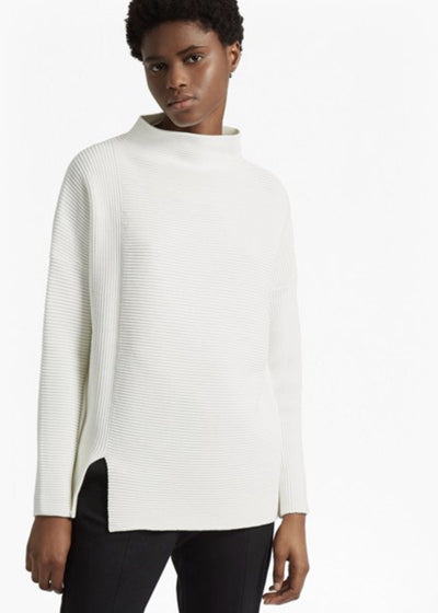 Tops - White Sunday Mozart High Neck Sweater