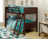 Circles Twin over Twin Bunk Bed - Dark Cappuccino