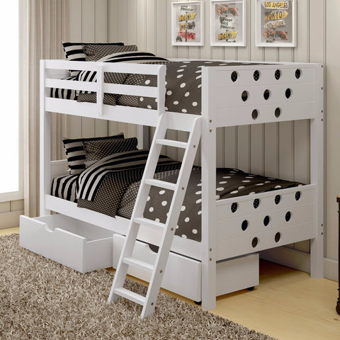 Circles Twin over Twin Bunk Bed - White