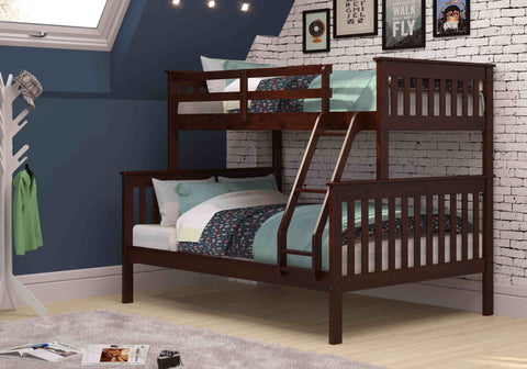 Mission Twin over Full Bunk Bed - Dark Cappuccino