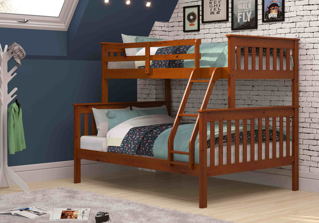 Mission Twin over Full Bunk Bed - Light Espresso