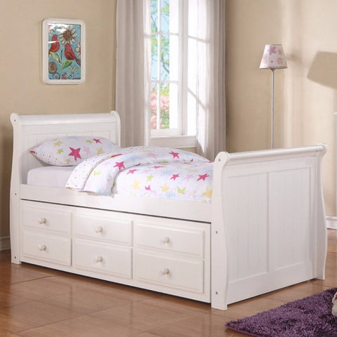 Twin Sleigh Captains Bed with Trundle - White