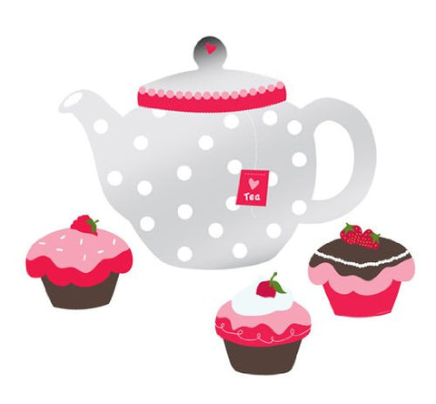 Tea Time Teapot Mirror Decals