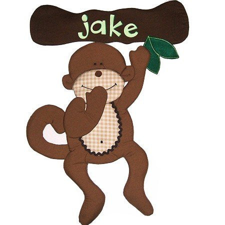 Personalized Monkey Fabric Wall Art