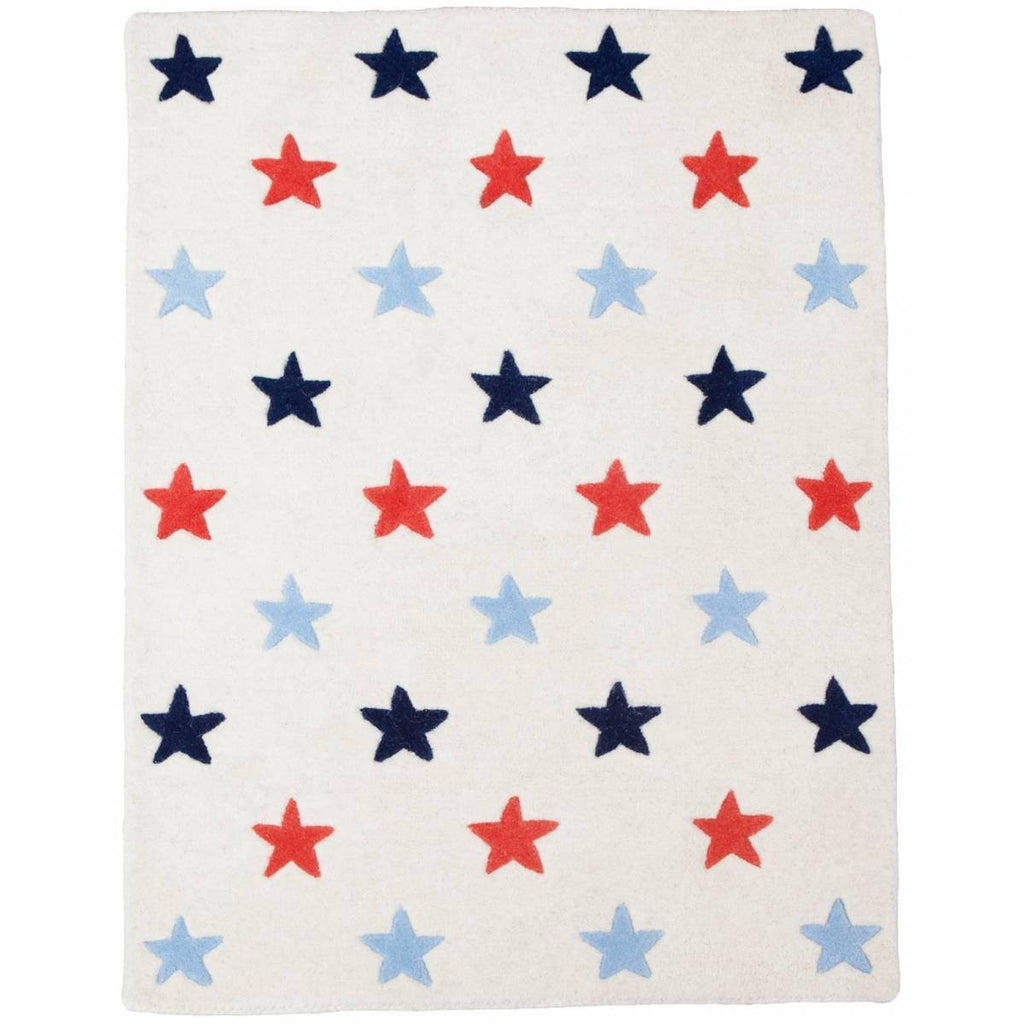 Blue and Red Star Rug