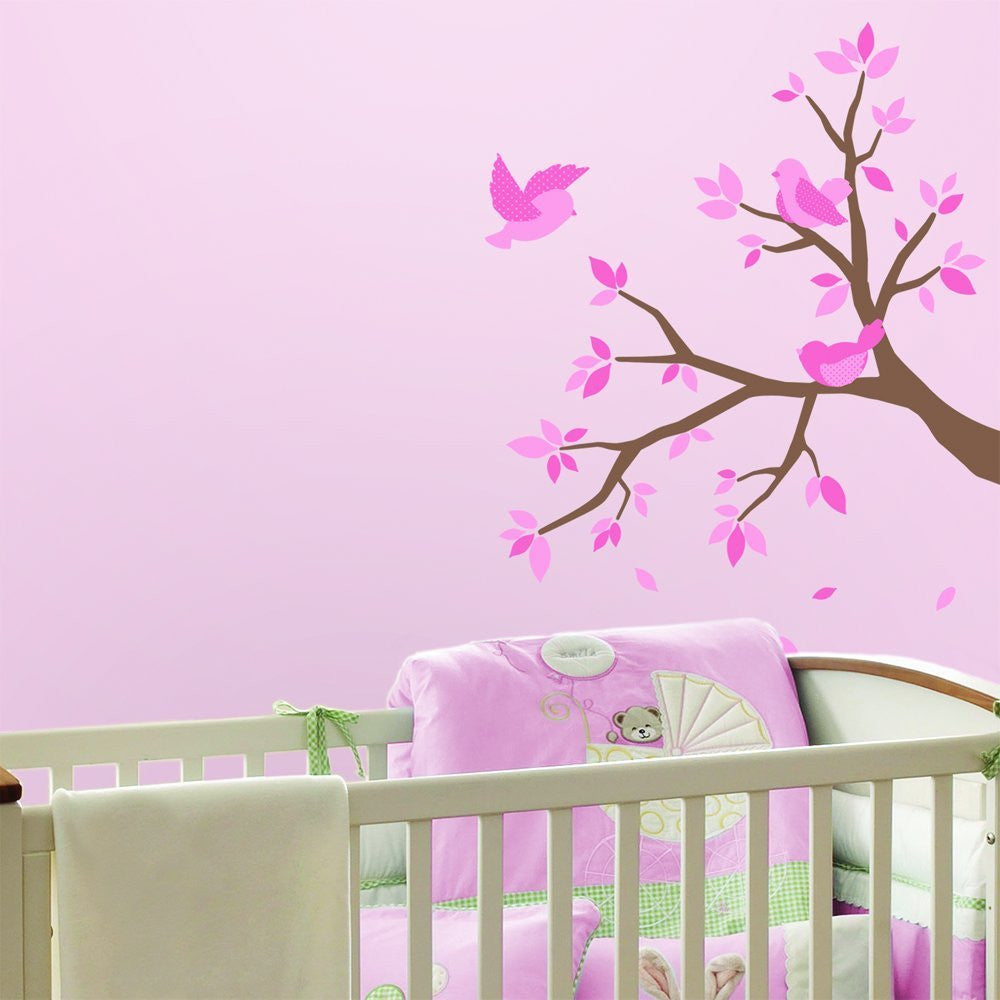 Pink Birds and Tree Nursery Wall Decals