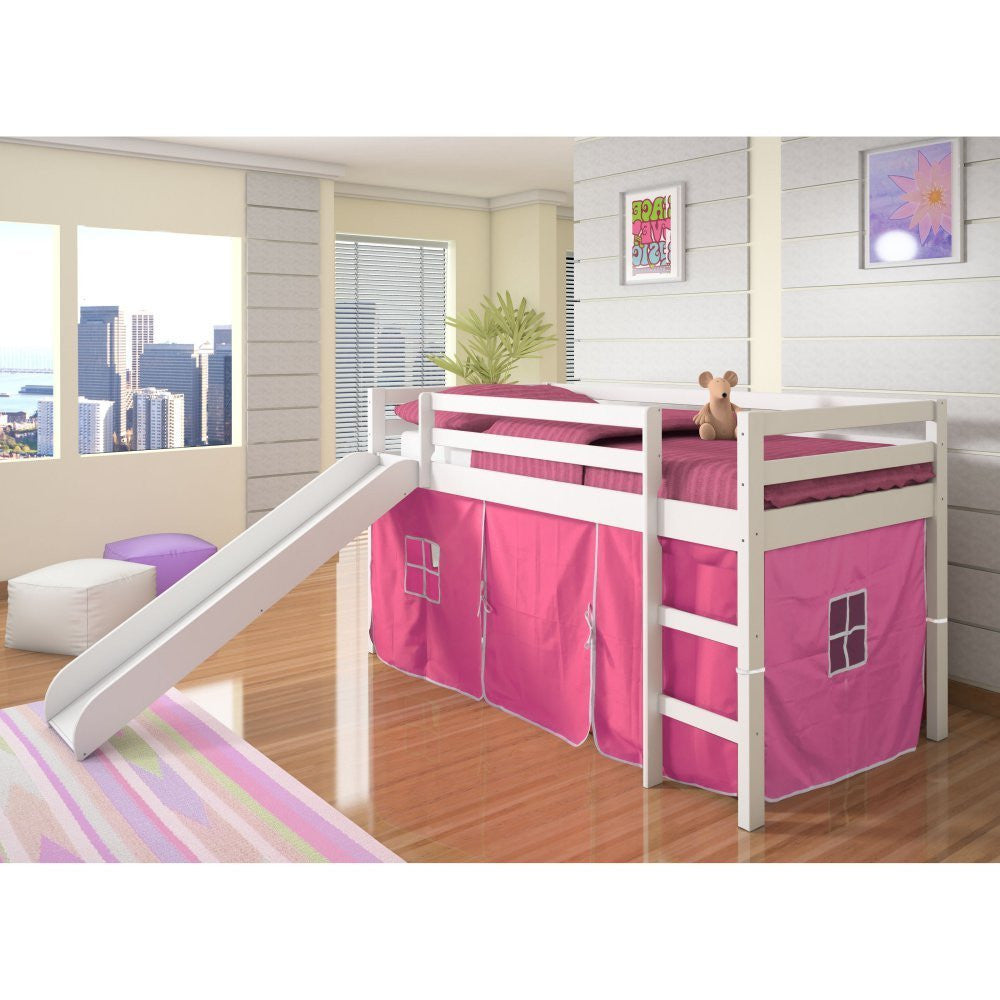 Twin Loft Tent Bed with Slide - White