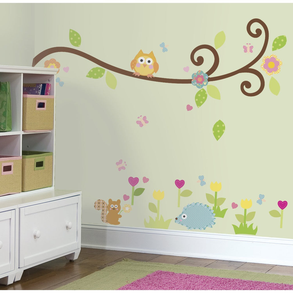 Scroll Tree Branch Owl Wall Decals
