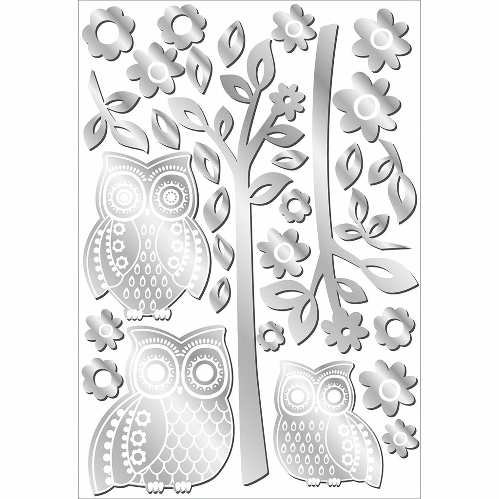 Owls and Branches Mirror Wall Decals