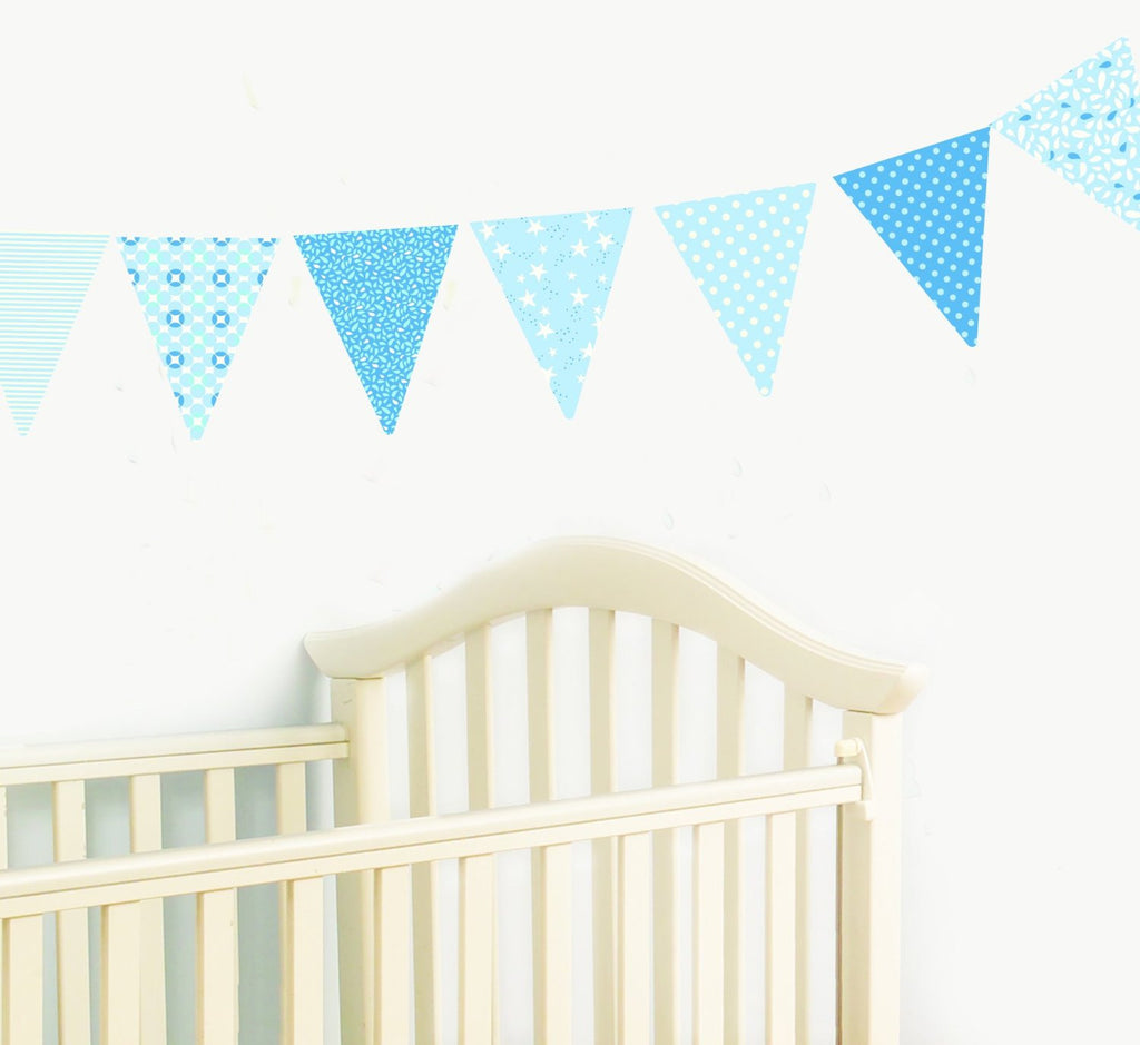 Blue Pennants Wall Decals