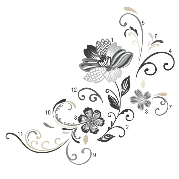 Black And White Scroll Flower Wall Decals Fun Rooms For Kids