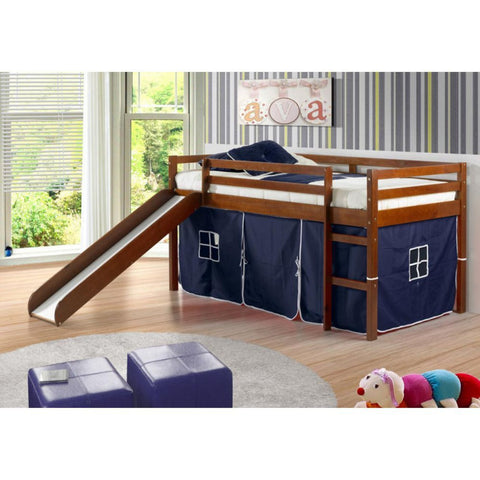 Twin Loft Tent Bed with Slide - Light Espresso