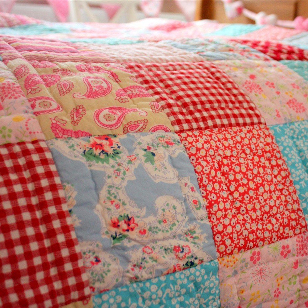 Girls Matilda Pink Amp Blue Patchwork Quilt Throw Fun