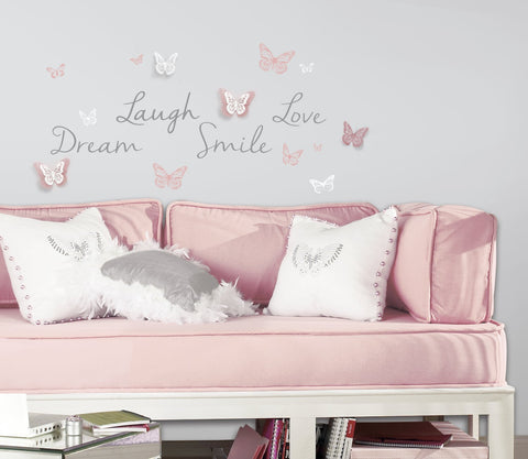 ... Butterfly Dream Wall Decals with 3D Embellishments ... & Butterfly Dream Wall Decals with 3D Embellishments u2013 Fun Rooms For Kids