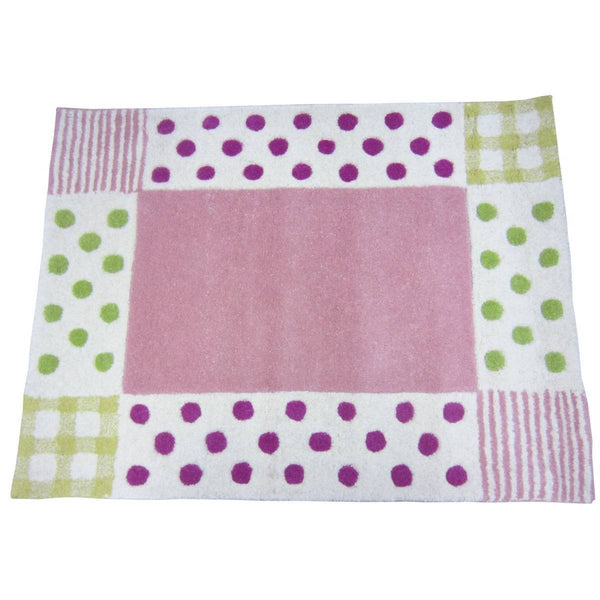 Girl Pink & Green Polka Dot Rug