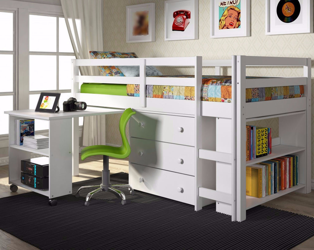 Twin Loft Bed With Desk And Storage White Fun Rooms