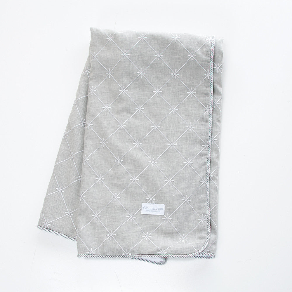 Grey Embroidery Crib Throw