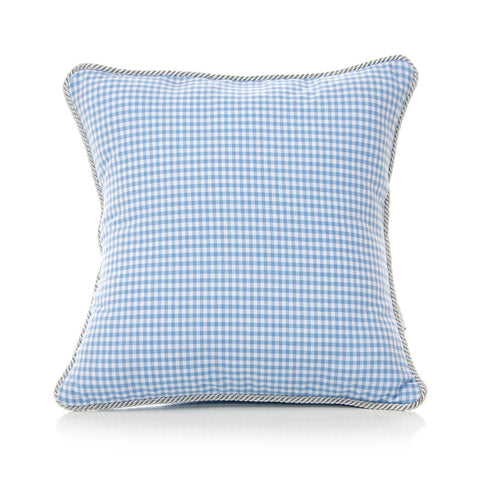 Blue Gingham Throw Pillow