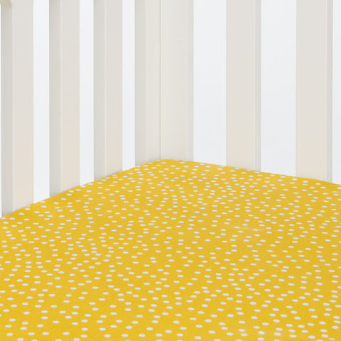Yelow Dot Fitted Crib Sheet