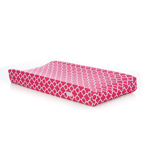Pippin Pink Quatrefoil Changing Pad Cover