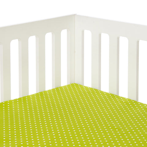 Pippin Green Dot Fitted Crib Sheet
