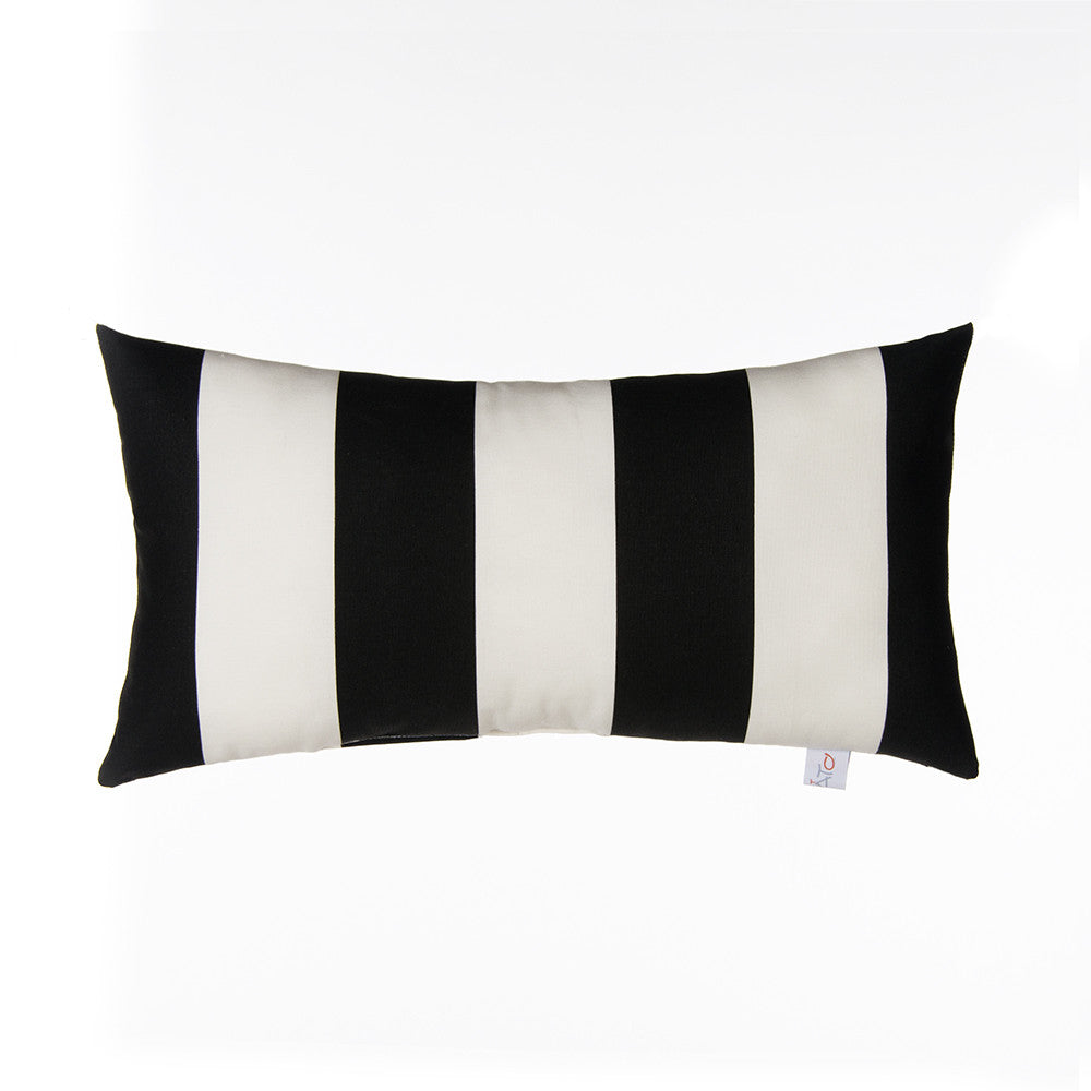 Rectangular Black & White Stripe Pillow