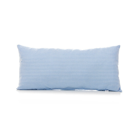 Blue Gingham Rectangular Bolster Pillow