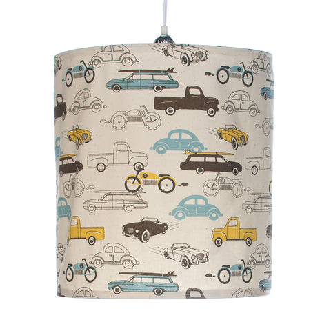 Traffic Jam Car Print Hanging Drum Shade