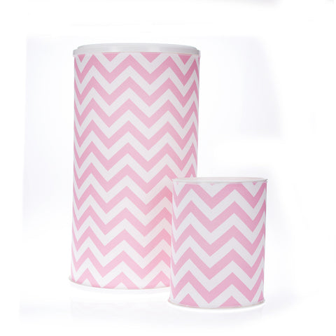 Swizzle Pink Chevron Hamper & Waste Can Set