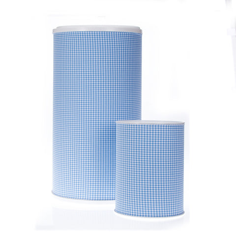 Blue Gingham Hamper & Waste Can Set