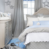 Reversible Grey Embroidery / Blue Gingham Duvet Cover