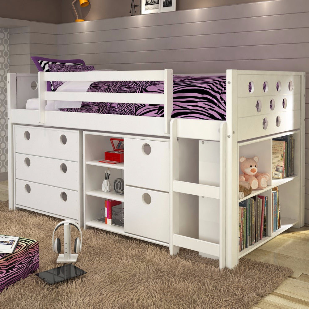 Circles Twin Loft Bed with Storage - White