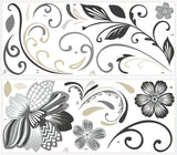 Black and White Scroll Flower Wall Decals