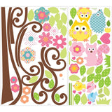 Scroll Tree and Owls Wall Decals
