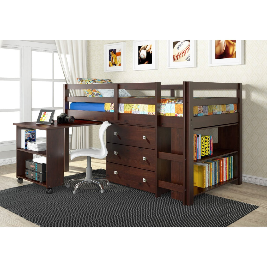 Twin Loft Bed with Desk and Storage - Dark Cappuccino