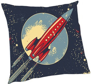 Vintage Rocket Ship Pillow