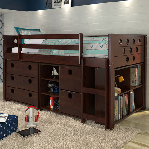 Circles Twin Loft Bed with Storage - Dark Cappuccino