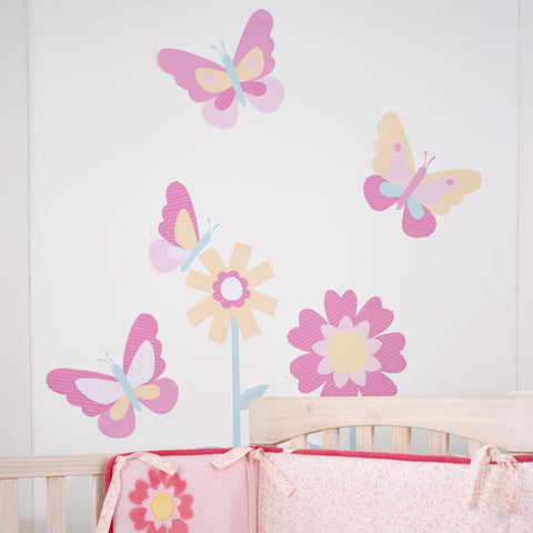 Beyond the Meadow Flowers and Butterflies Wall Decals