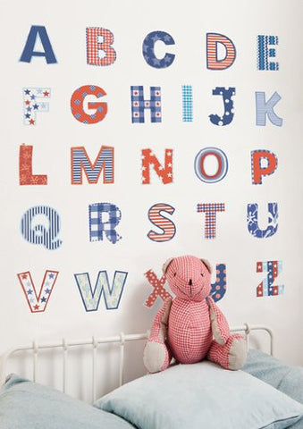 Blue and Red Alphabet Wall Decals