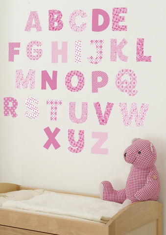 Pink Alphabet Wall Decals