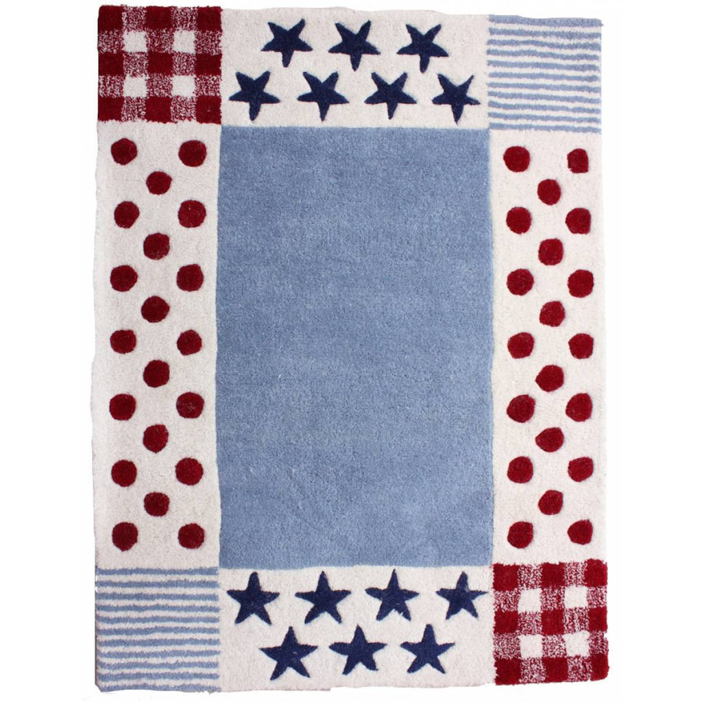 Red & Blue Star and Dot Rug
