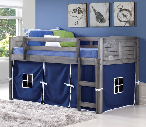 Louver Gray Twin Loft Bed with Tent