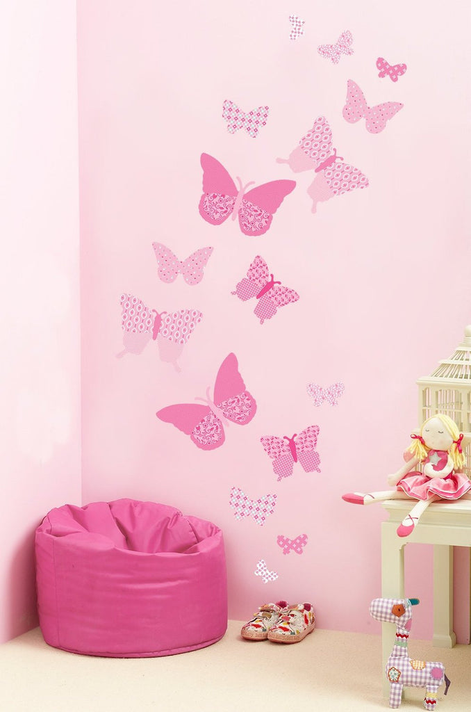 pink butterfly wall decals - girls bedroom decor – fun rooms for kids