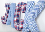 Blue Gingham Fabric Wall Letters